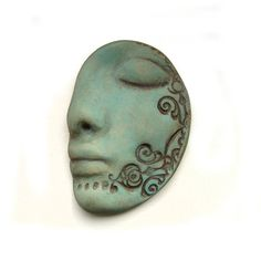 Turquoise Dream Polymer Clay Face Cab Art Doll Parts Teal Blue Sleeping Carved Goddess Cabochon Sleep Dreaming Profile 3114