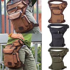 Men Canvas Briefcases Cycling Riding Fanny Waist Pack Thigh Drop Leg Waist Bag