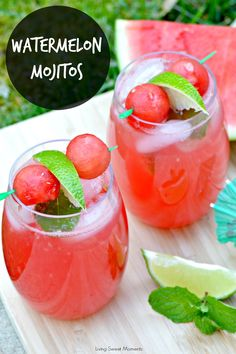Watermelon Mojitos: these summer refreshing drinks are sweet, tangy and full of flavor. The perfect cocktail for parties and get togethers.