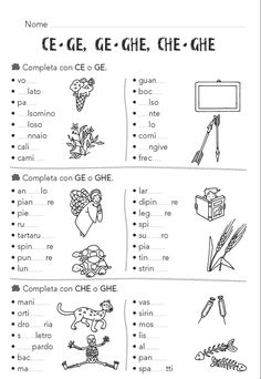CE/CHE/CI/CHI/GI/GHI/GE/GHE - Il Forum di Maestra Sabry Italian Grammar, Italian Words, Italian Language, Writing Practice Worksheets, Worksheets For Kids, Italian Courses, Italian Lessons, Montessori Math, Learning Italian