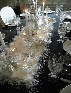 Elegant Winter or Christmas table ~ Long Mirror, Faux Snow, Crystal Candle Holders, dark blue tablecloth, Silver Pine Cones. Christmas Dining Table, Christmas Table Settings, Christmas Tablescapes, Christmas Table Decorations, Holiday Tablescape, Thanksgiving Table, Winter Decorations, All Things Christmas, Christmas Home