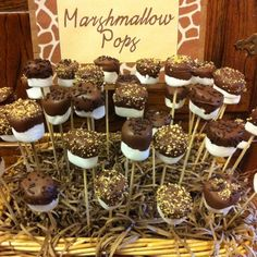 Marshmallow pops created for a Safari/Giraffe party... but I think they are perfect for a wild things party too.
