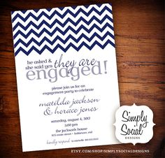Chevron Engagement Party Invitation by SimplySocialDesigns on Etsy, $16.00