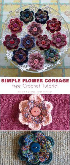Simple Flower Corsage Crochet Motifs, Free Crochet, Crochet Patterns, Butterfly Flowers, Butterflies, Flower Corsage, Eye For Detail, Simple Flowers, Button Flowers