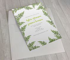 Green Leaf Sprig Wedding Invitation