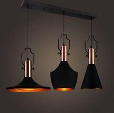 Copper Metal Industrial Light E27 Retro Ceiling Pendant Light 3 Lights   | eBay