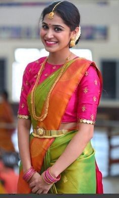 blouse designs Looking for creative blouse work designs to try with your silk sarees? Here are 16 amazing blouse ideas that can make your silk saree look gorgeous! Wedding Saree Blouse Designs, Pattu Saree Blouse Designs, Blouse Designs Silk, Blouse Patterns, South Indian Blouse Designs, Wedding Blouses, Dress Designs, Shirt Designs, Simple Blouse Designs