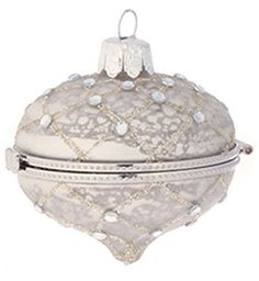 From the Silent Luxury Collection This mercury glass style antique silver ornament is embellished with glitter and jewels Doubles as a kismet keepsake bo 31451599 Christmas Items, Christmas Balls, White Christmas, Silver Ornaments, Xmas Ornaments, Pastel, Mercury Glass, Keepsake Boxes, Antique Silver