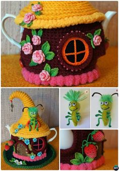 Crochet Fairy House Teapot Cozy Cover Pattern Free-Crochet Knit Tea Cozy Free Patterns