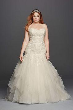98198113 Extra Length Tulle Plus Size Oleg Cassini Embellished Mermaid Wedding Dress  - Ivory,