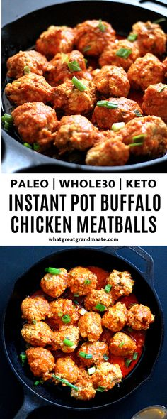 Easy, healthy, and flavorful Whole30 and keto Buffalo chicken meatballs, made in the Instant Pot! These are super easy and quick, you'll definitely go back for seconds! If you don't have the Poultry button on your Instant Pot, you can just cook on Manual for 15 minutes. So delicious and tender! #paleo #whole30 #keto #instantpot #pressurecooker #buffalochicken