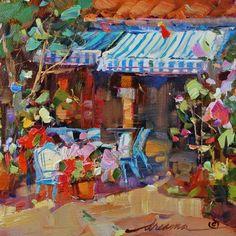 Cafe' de Bleu Francais, painting by artist Dreama Tolle Perry