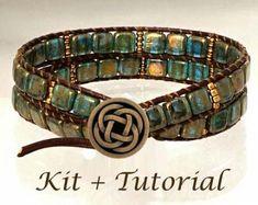 Wrap Bracelet KIT: Jewelry Making Kit for Beaded Leather Bracelet (supplies & step-by-step beading tutorial includ. Jewelry Making Kits, Jewelry Kits, Jewelry Clasps, Diy Jewelry, Beaded Jewelry, Jewelry Bracelets, Wrap Bracelets, Leather Bracelets, Handmade Jewelry