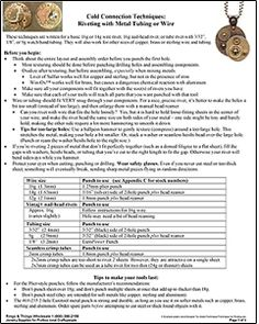 """Cold Connection Techniques: Riveting with Metal Tubing or Wire ... free tip sheet ... CLICK on """"print a PDF of this form"""""""