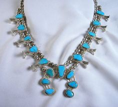 Vintage TURQUOISE SQUASH BLOSSOM Necklace by JamminGems on Etsy, $325.00