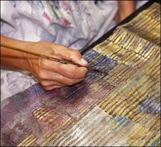    Huguette Caland    Artist    Painting Tips, Fabric Painting, Fabric Art, Collage Art Mixed Media, Mixed Media Artists, Fabric Stamping, Stamp Printing, Paper Decorations, Artist At Work