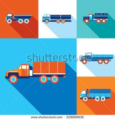 Truck cars icon set. Modern flat design style. Transportation. Vector illustration - stock vector