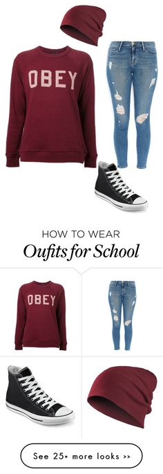 """Fall School Outfit with a Beanie"" by kayleecat124 on Polyvore featuring Frame Denim and Converse"