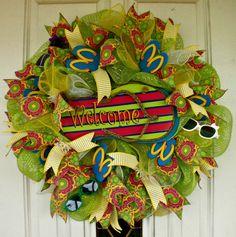 Flip Flop Wreath, Beach Wreath, Spring Wreath, Summer Wreath, Mesh Wreath, Indoor Wreath, Outdoor Wreath, Door Wreath, Welcome Wreath by MeMaandCo on Etsy