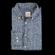 ts(s) Flower Printed Viyella Cloth B.D. Shirt in Navy Angle1