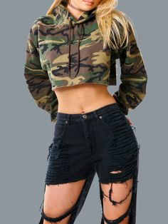 e9f9c0ddfc5 Olive Green Camo Print Crop Hoodie ($15) ❤ liked on Polyvore featuring  tops, hoodies, crop top, sweaters, green, camo … | Clothes! Clothes!!  Clothes!!!