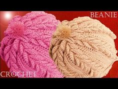 Como tejer a Crochet o Ganchillo gorro boina en punto de hojas dobles en relieve - YouTube
