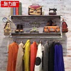 Austríaco alto prateleira de parede para pendurar prateleiras loja vintage ferro forjado cabides de madeira(China (Mainland))