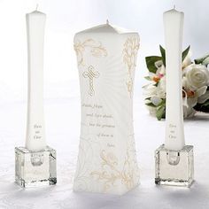 love this!   Christian Unity Candle and Two Christian Tapers WS322W-LR