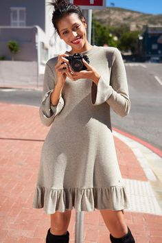 Urban Knit Dress with Ruffle Hem at EziBuy New Zealand. Buy women's, men's and kids fashion online. Fast delivery and 30 day returns. Little Boy Fashion, Kids Fashion, Fashion Outfits, Womens Fashion, Fashion Trends, Knit Dress, Dress Up, Online Clothing Stores, European Fashion