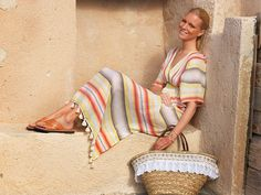 A travel in colors. Spring Summer 2015, Kaftan, Straw Bag, Editorial, Campaign, Wanderlust, Tunic, Stripes, Colors