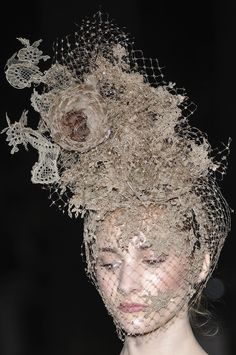 valentino fall 2009 couture philip treacy lace masks