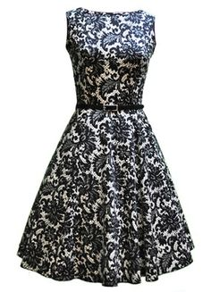 Glamorous 50's silhouettes with vibrant brocades like this one are great for summer weddings when worn with voluminous curls and black flats, or for fall weddings with a black wrap, black pumps, and an updo!