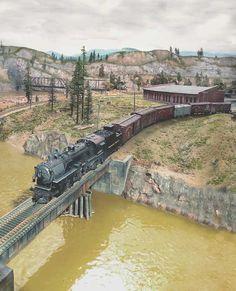 HO scale 1903 Bridge Kit, on our train layout. Found on www.CVMW.com