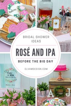 Throwing a couples wedding shower? This Rosé and IPA Before the Big Day Wedding Shower is so much fun -- check out all the details: wine and beer tasting, custom sugar cookies, a walking taco bar, and lovely decor ideas  - Elva M Design Studio | elvamdesign.com #rosébridalshower #couplesweddingshower #bridalshower #partystyling #elvamdesignstudio