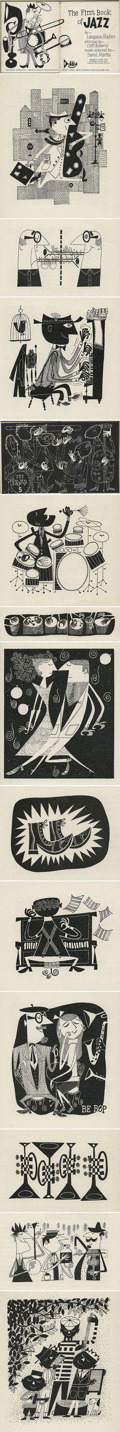 """Book: Ilustraciones por Cliff Roberts de """"El primer libro de Jazz"""" de Langston Hughes, 1955 in Yesteryear"""