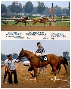 """Secretariat's second career win, a $9000 allowance race in his first appearance at Saratoga on July 31, 1972. This composite photo shows the legendary extension and stride of Secretariat as he nears the wire at top and in the winners circle with Meadow Stable groom Mordecai Williams holding the shank. On board the chestnut colt for the first time is Hall of Fame jockey Ron Turcotte who would later pilot Secretariat through 13 additional victories including his Triple Crown sweep."""