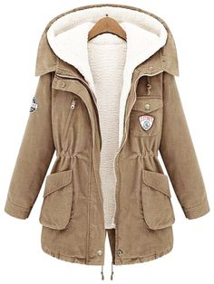 Khaki Hooded Long Sleeve Pockets Two Pieces Coat 45.83