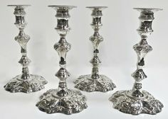 Set Of 4 William Gould Cast Sterling Silver Candlesticks George II, 1749 Silver Candlesticks, Antique Silver, Silver Jewelry, Candle Holders, It Cast, Sterling Silver, Antiques, Ebay, Antiquities