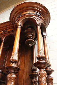 European Furniture, Antique Furniture, Renaissance, Century Cabinets, Pillar Design, Iron Decor, Joinery, Wood Art, Clocks