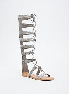 5513450766c7 Faux Snake Skin Lace Up Knee High Gladiator Sandals (Wide Width) Wide Shoes