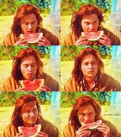 I have never wanted to be a piece of watermelon so bad. Johnny Depp Images, Johnny Depp Pictures, Young Johnny Depp, Here's Johnny, Johnny Depp Movies, John Depp, 90s Movies, Many Faces, Big Love