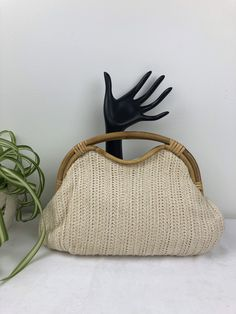 Vintage Boho Knit & Bamboo Clutch Vintage Purses, Knitted Bags, Bamboo, Reusable Tote Bags, Boho, Knitting, Trending Outfits, Unique Jewelry, Handmade Gifts