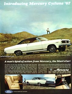 1967 Mercury Cyclone - A man's kind of action from Mercury, the Man's Car! - Original Ad