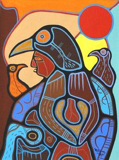 Communicating With Nature ~ Roy Thomas ~ Contemporary Canadian Native, Inuit & Aboriginal Art - Bearclaw Gallery Inuit Kunst, Inuit Art, Native American Artists, Canadian Artists, Claudia Tremblay, Kunst Der Aborigines, Native Canadian, Spirited Art, Indigenous Art
