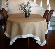 This is a classy natural jute burlap tablecloth with a natural muslin ruffle. This burlap table cloth can be dressed up or down to fit any occasion Ruffled Tablecloth, Oval Tablecloth, Tablecloth Ideas, Burlap Projects, Diy Projects, Mantel Redondo, Boho Home, Burlap Crafts, Deco Table