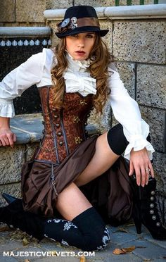 steampunk brown corset w brown bustle skirt victorian. Black Bedroom Furniture Sets. Home Design Ideas