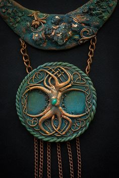Hey everybody! Today I show you my new necklace. This is gift for photographer and my good friend Marisja Myanovska. In this work I used polymer clay, stone, gold potal and metal as the basis. This is magic tree Yggdrasil. I hope you like it. Thank you and have a nice watching.