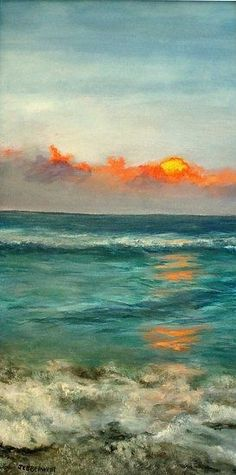Beautiful ❤ Turquoise Ocean by Joseph Ebberwein Acrylic ~ 24 x 12 Beach Sunset Painting, Beach Art, Felt Wall Hanging, Felt Pictures, Painting Competition, Art Graphique, Ocean Art, Ocean Life, Oil Paintings