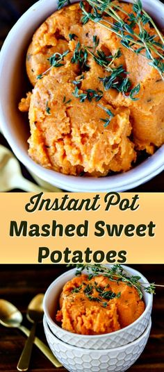 This recipe for easy mashed sweet potatoes literally takes 8 minutes under pressure, and you end up with a silky-smooth, delicious dish that is perfect for weeknight meals or holidays. Pressure cooker, instant pot, paleo, vegan, thanksgiving. via @cleaneatingkitchen
