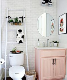 Gorgeous Small Bathroom With White Subway Tiles And A Pretty Pink Sink Unit